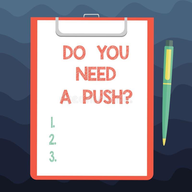 Escrevendo a exibição da nota você precisa um Pushquestion Apresentar da foto do negócio diz-nos se você pode se usar para ajudar ilustração do vetor