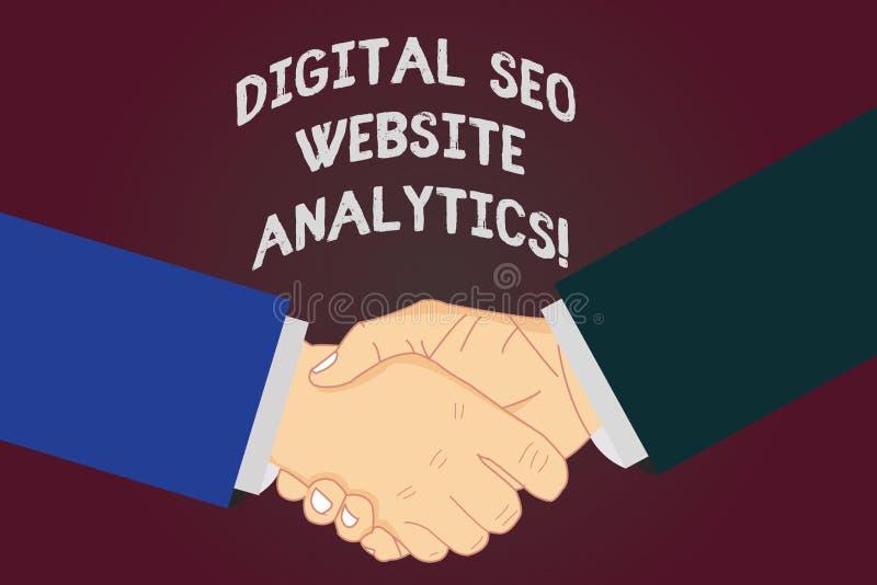 Escrevendo a exibição Digital Seo Website Analytics da nota Estratégia em linha apresentando da otimização do Search Engine da fo ilustração royalty free