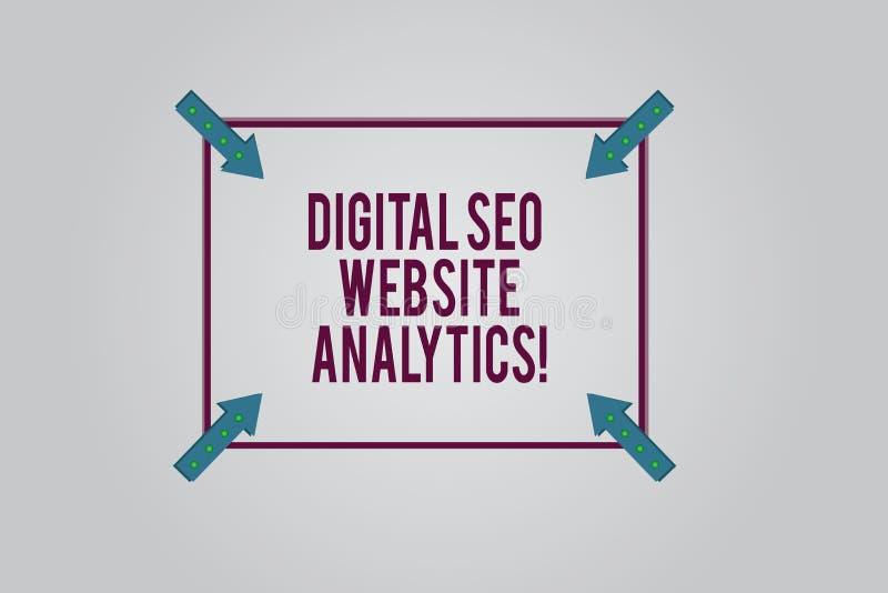 Escrevendo a exibição Digital Seo Website Analytics da nota Estratégia em linha apresentando da otimização do Search Engine da fo ilustração stock