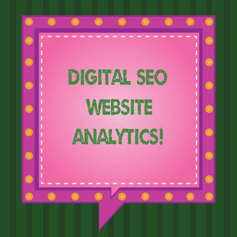 Escrevendo a exibição Digital Seo Website Analytics da nota Estratégia em linha apresentando da otimização do Search Engine da fo ilustração do vetor