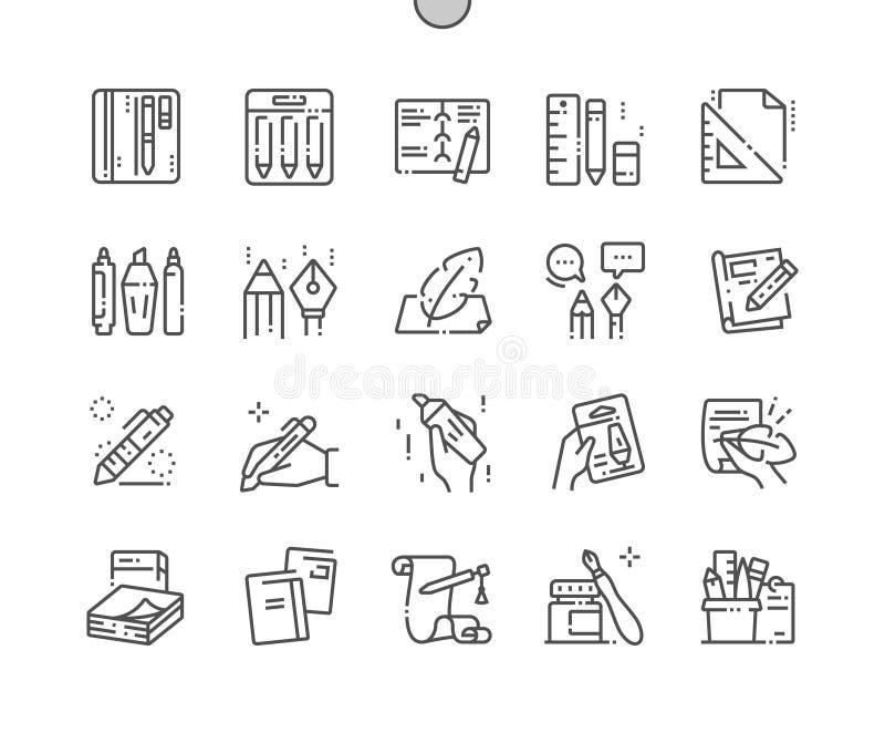 Escrevendo a ferramentas o pixel bem feito vetor perfeito ilustração do vetor