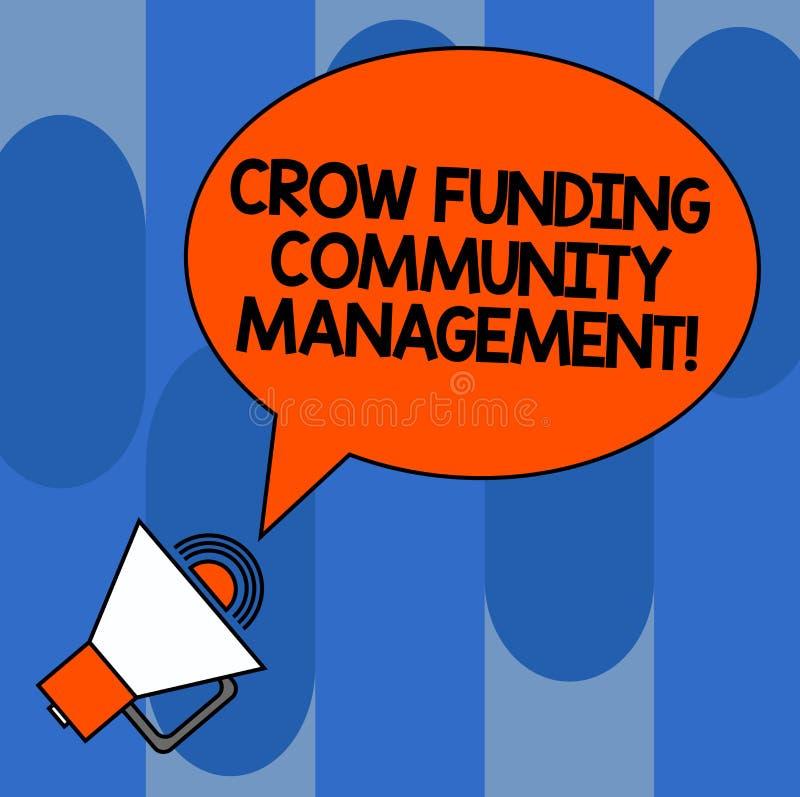 Escrevendo a gestão da comunidade do financiamento do corvo da exibição da nota Investimentos apresentando do projeto do fundo do ilustração royalty free
