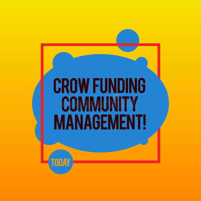 Escrevendo a gestão da comunidade do financiamento do corvo da exibição da nota Investimentos apresentando do projeto do fundo do ilustração stock