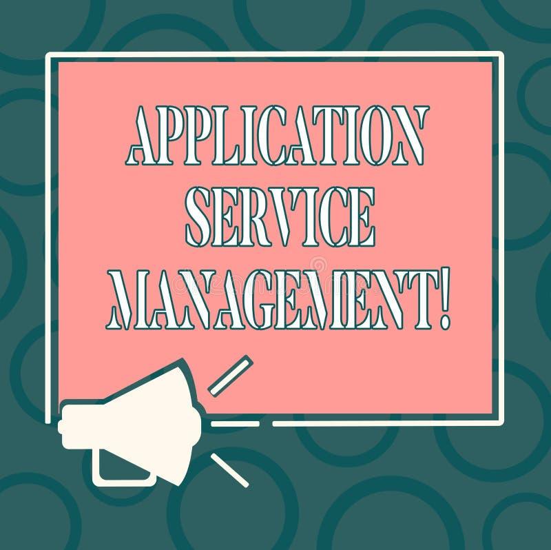 Escrevendo a gestão do serviço da aplicação da exibição da nota Processo apresentando da foto do negócio de manter o megafone da  ilustração stock