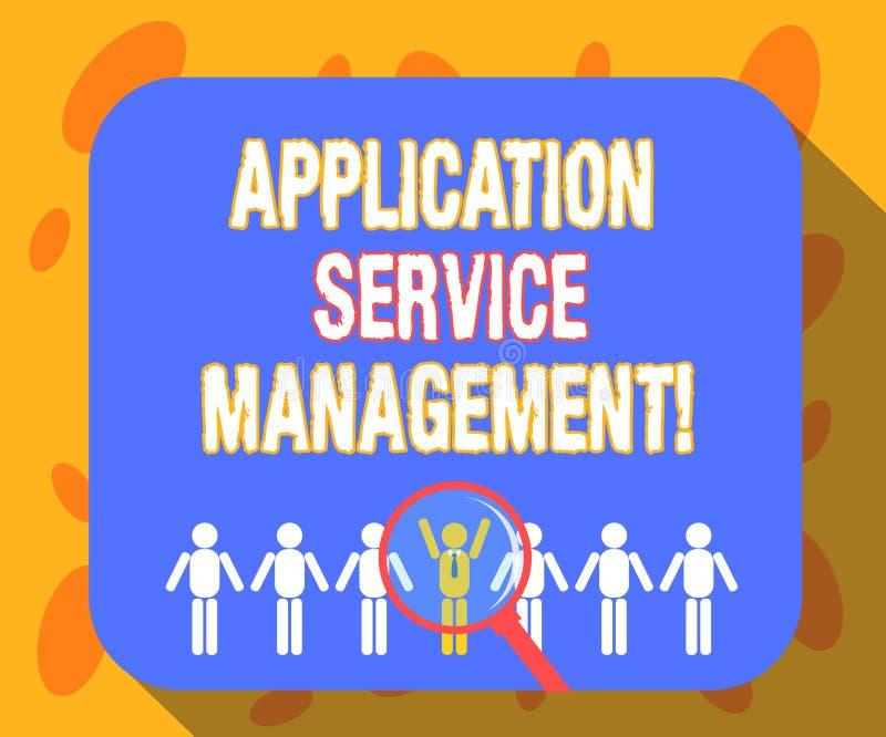 Escrevendo a gestão do serviço da aplicação da exibição da nota Processo apresentando da foto do negócio de manter a operação ilustração do vetor