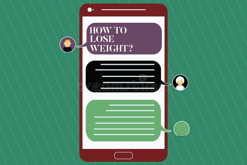 Escrevendo a nota que mostra como perder Weightquestion Estratégias apresentando da foto do negócio para conseguir o ajustador pa ilustração stock