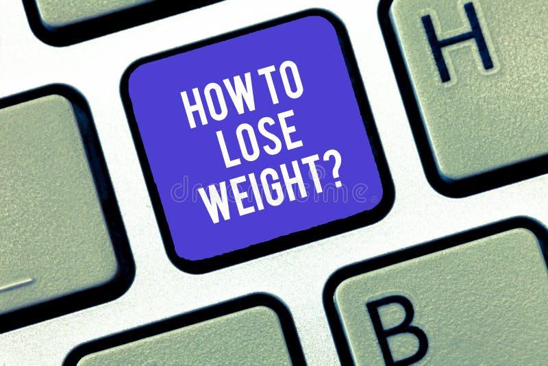 Escrevendo a nota que mostra como perder Weightquestion Estratégias apresentando da foto do negócio para conseguir o ajustador pa foto de stock