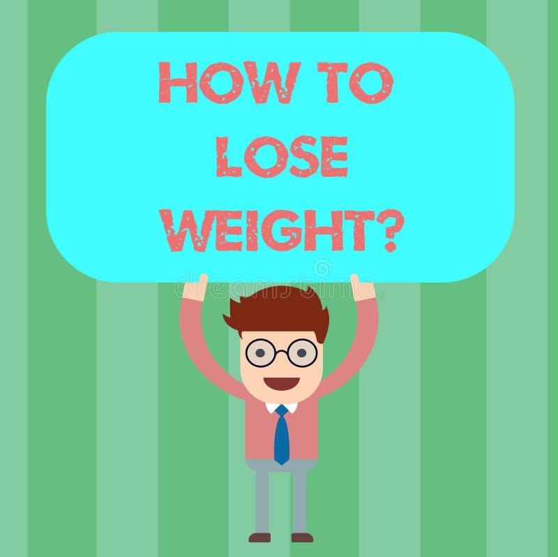 Escrevendo a nota que mostra como perder Weightquestion Estratégias apresentando da foto do negócio para obter a parada do ajusta ilustração stock