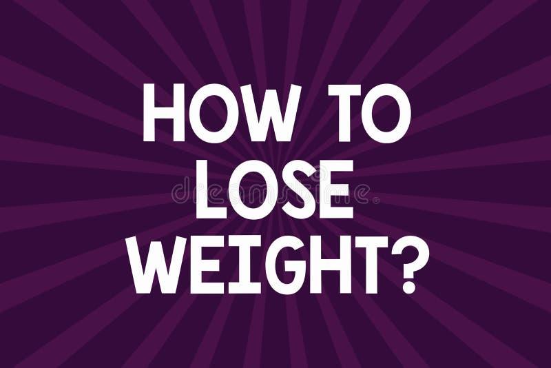 Escrevendo a nota que mostra como perder Weightquestion Estratégias apresentando da foto do negócio para obter a parada mais apta ilustração do vetor