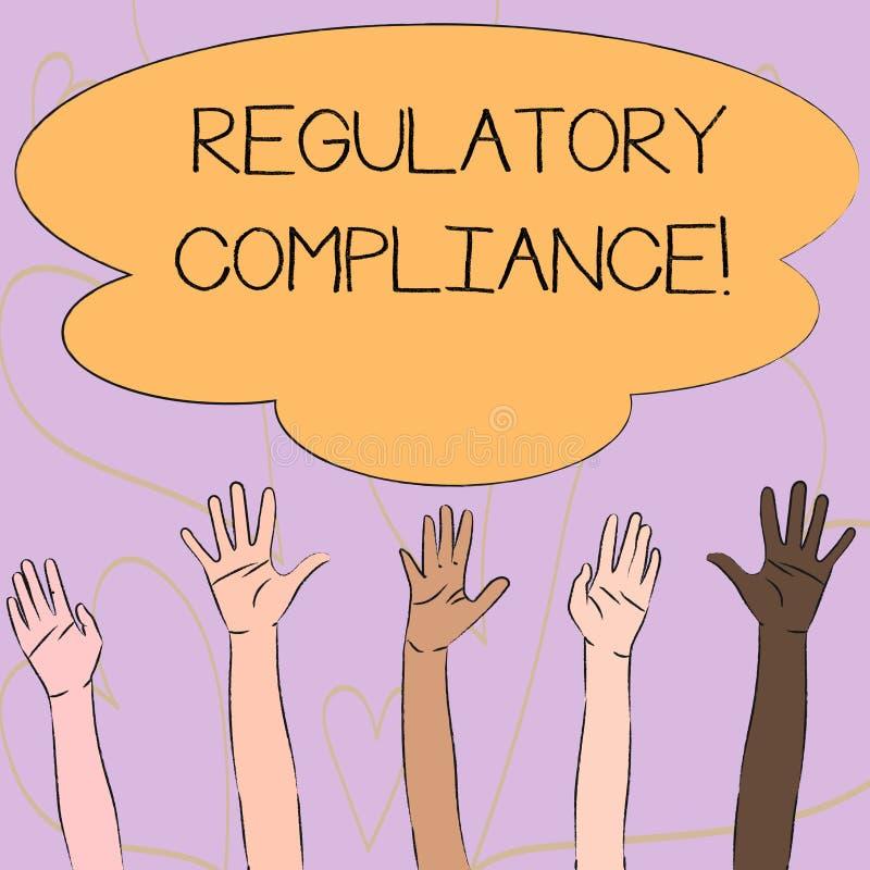 Escrevendo a nota que mostra a conformidade reguladora A organização apresentando s da foto do negócio é aderência às leis  ilustração stock