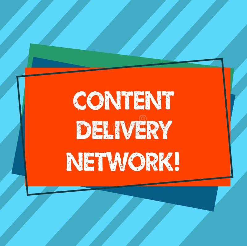 Escrevendo a nota que mostra Content Delivery Network A foto do negócio que apresenta geograficamente dispersou a rede dos servid ilustração stock
