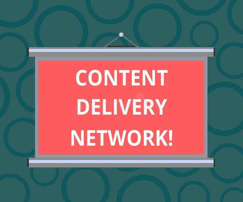Escrevendo a nota que mostra Content Delivery Network A foto do negócio que apresenta geograficamente dispersou a rede dos servid ilustração royalty free