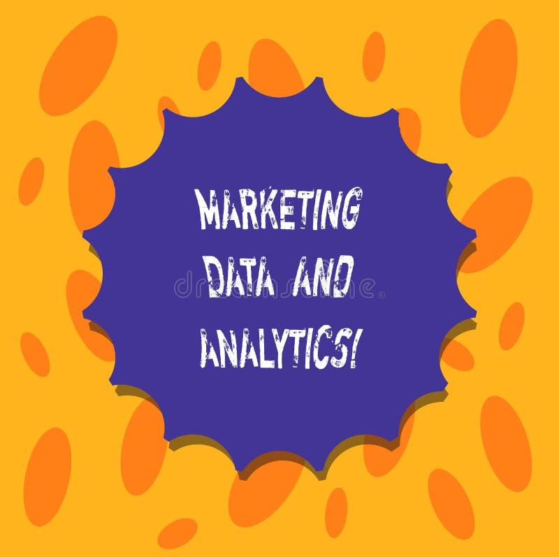 Escrevendo a nota que mostra dados e analítica do mercado Selo vazio apresentando da análise estatística da promoção da propagand ilustração do vetor