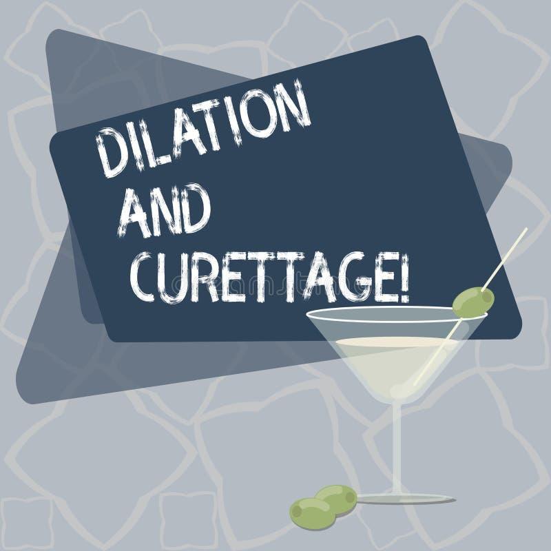 Escrevendo a nota que mostra a dilatação e a curetagem Procedimento apresentando da foto do negócio para remover o tecido do inte ilustração do vetor