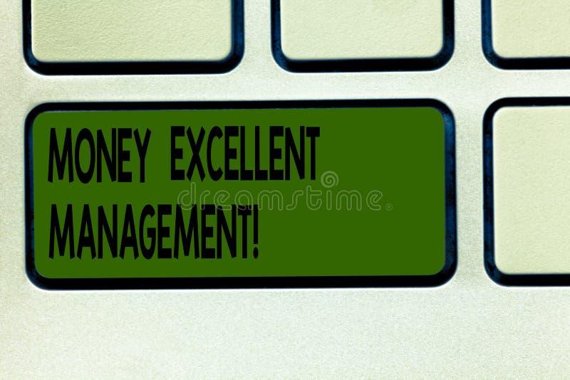 Escrevendo a nota que mostra a dinheiro a gestão excelente Foto do negócio que apresenta como você segura todos os aspectos de su imagens de stock royalty free