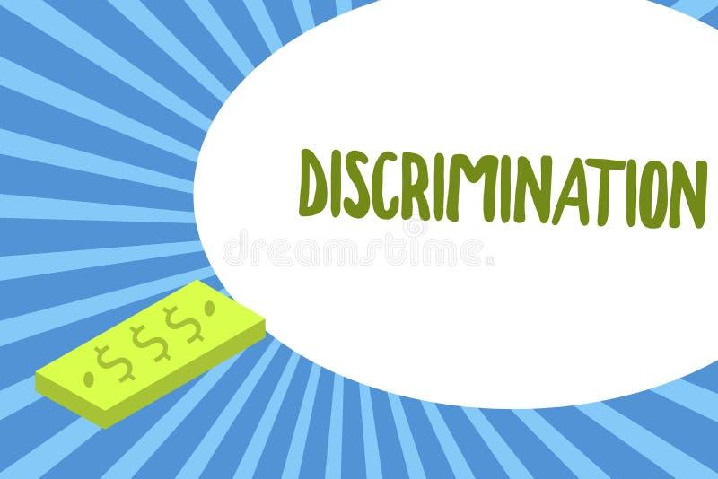 Escrevendo a nota que mostra a discriminação Foto do negócio que apresenta o tratamento prejudicial de categorias diferentes de e ilustração do vetor