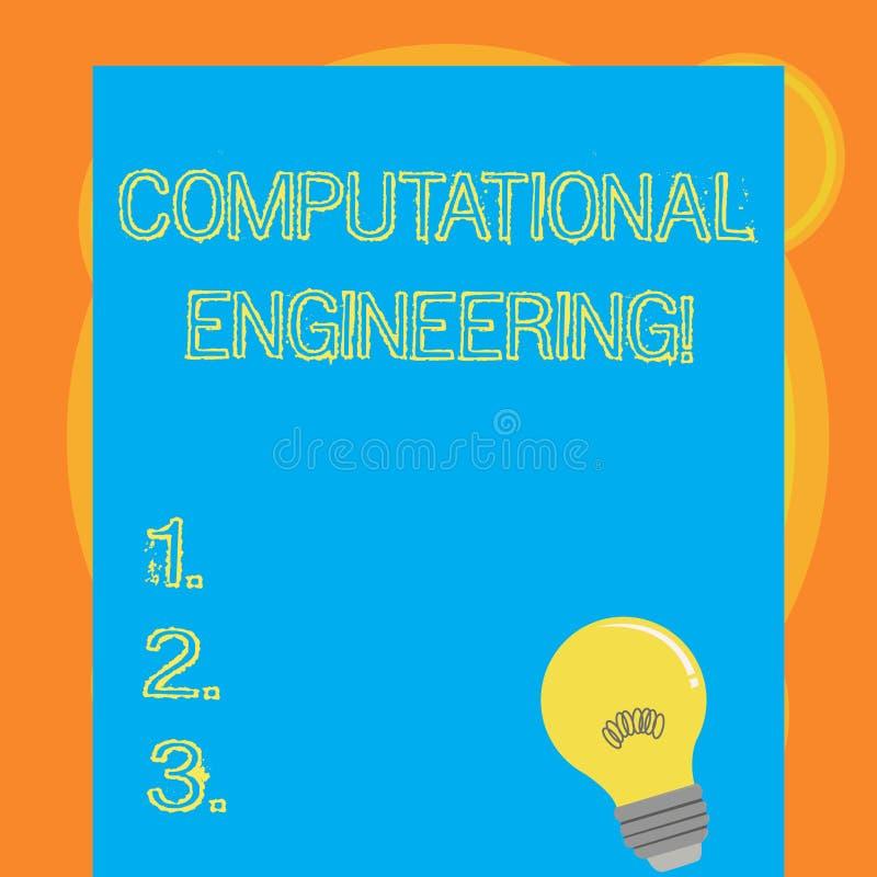 Escrevendo a nota que mostra a engenharia computacional Desenvolvimento e aplicação apresentando da foto do negócio computacionai ilustração do vetor