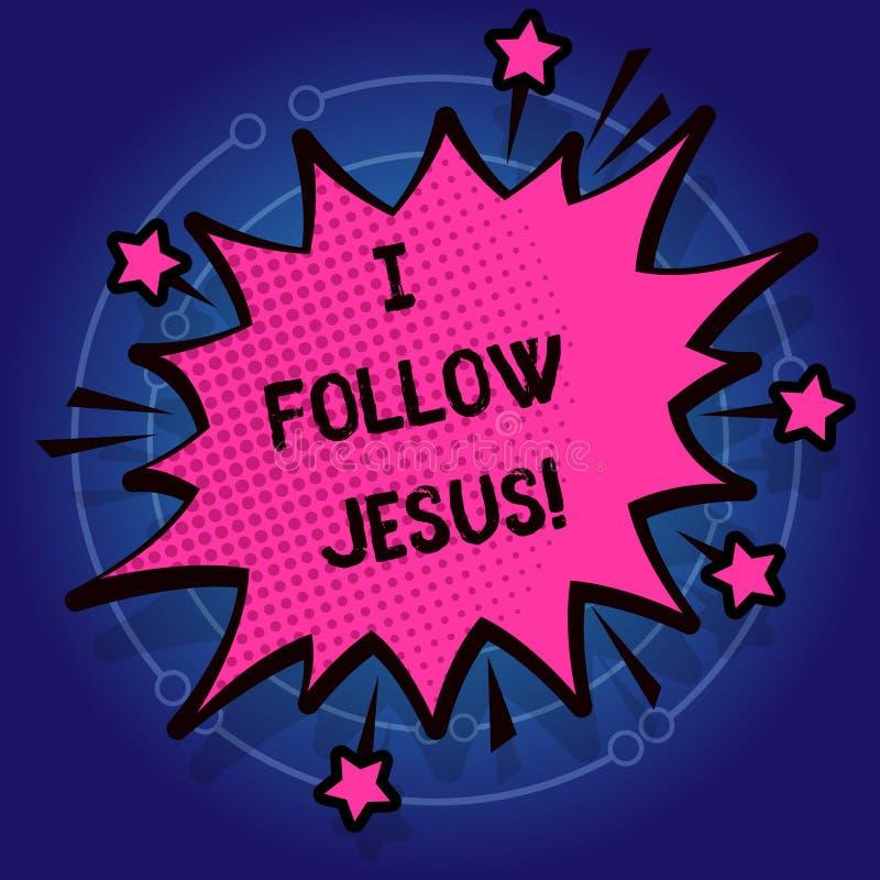 Escrevendo a nota que mostra eu sigo Jesus Foto do negócio que apresenta a demonstração religiosa com lote do amor da fé para o d ilustração stock