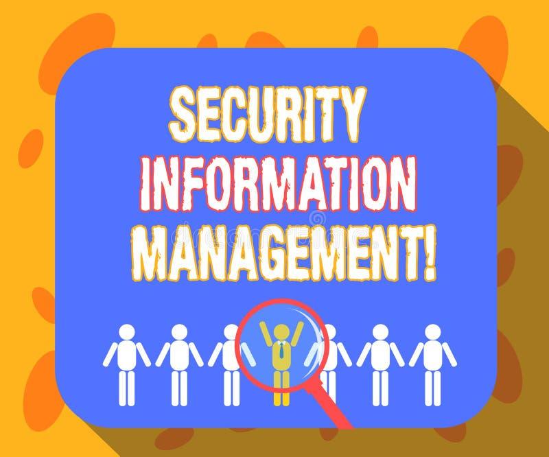 Escrevendo a nota que mostra a gestão da informação da segurança Coleta apresentando da foto do negócio e análise de dados da seg ilustração stock