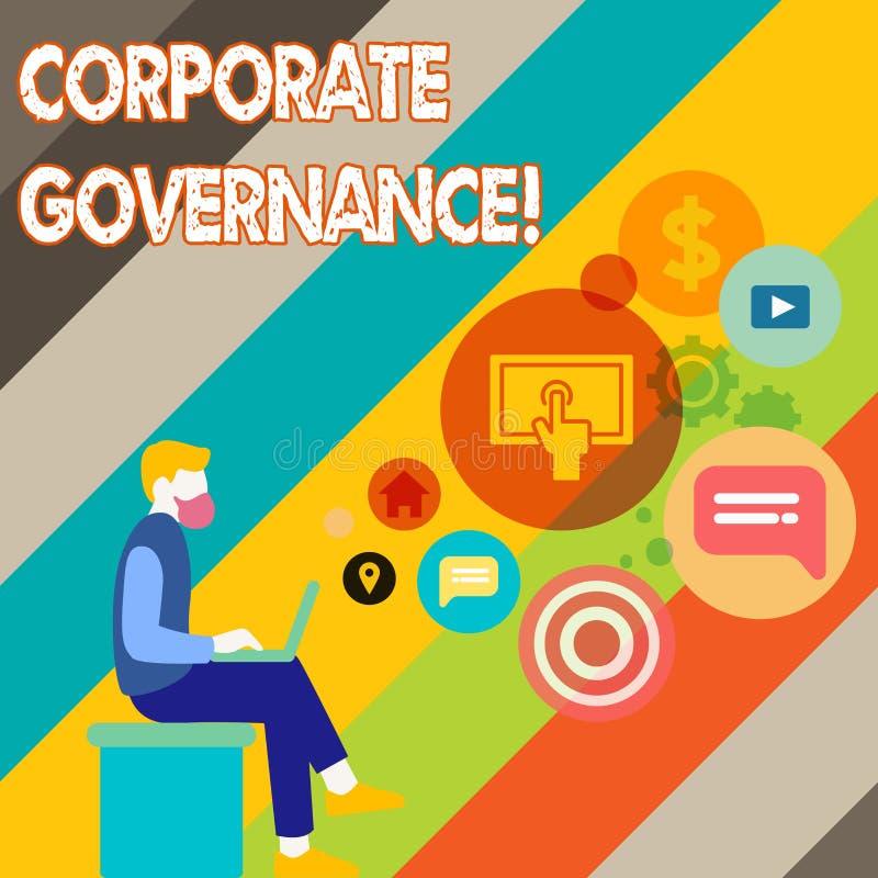 Escrevendo a nota que mostra a governança corporativa Sistema apresentando da foto do negócio de processos por que uma empresa  ilustração royalty free