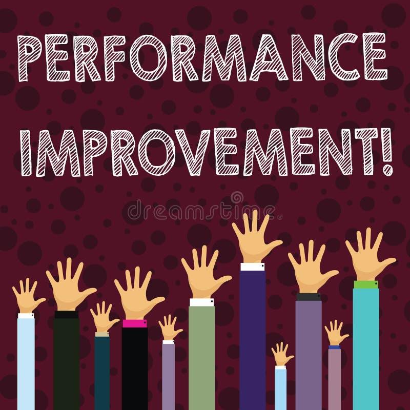 Escrevendo a nota que mostra a melhoria de Perforanalysisce Apresentar da foto do negócio melhora a produtividade aumenta a entra ilustração royalty free