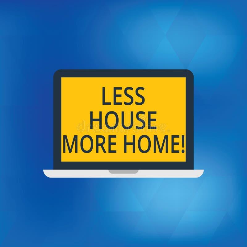 Escrevendo a nota que mostra a menos casa mais casa Apresentar da foto do negócio tem um lugar confortável morno a viver com a fa ilustração stock