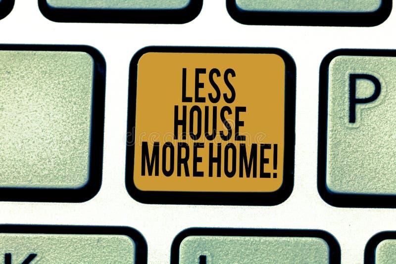 Escrevendo a nota que mostra a menos casa mais casa Apresentar da foto do negócio tem um lugar confortável morno a viver com a fa ilustração do vetor