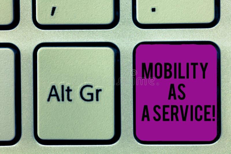 Escrevendo a nota que mostra a mobilidade como um serviço Foto do negócio que apresenta o apoio em linha móvel do auxílio das tec fotos de stock royalty free