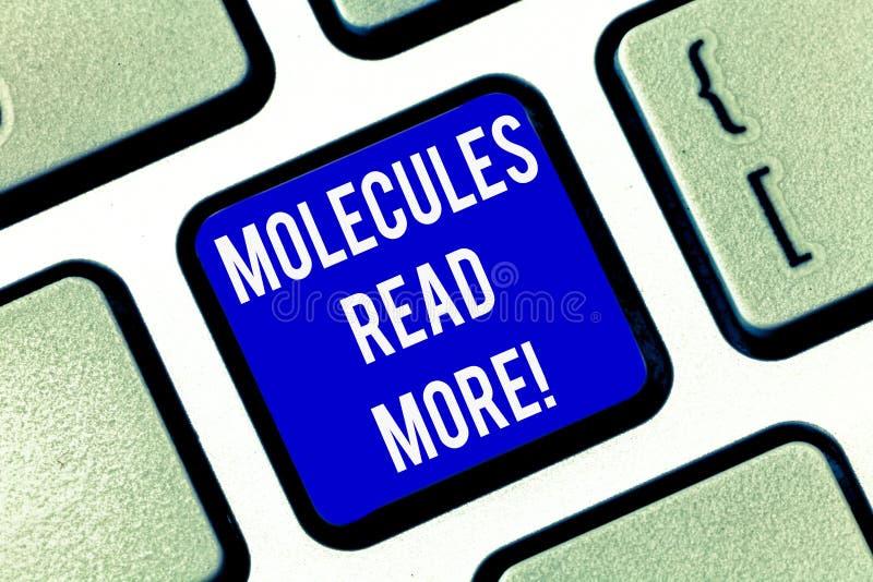 Escrevendo a nota que mostra moléculas leia mais Foto do negócio uma quantidade a menor apresentando de ácaro químico da partícul fotografia de stock