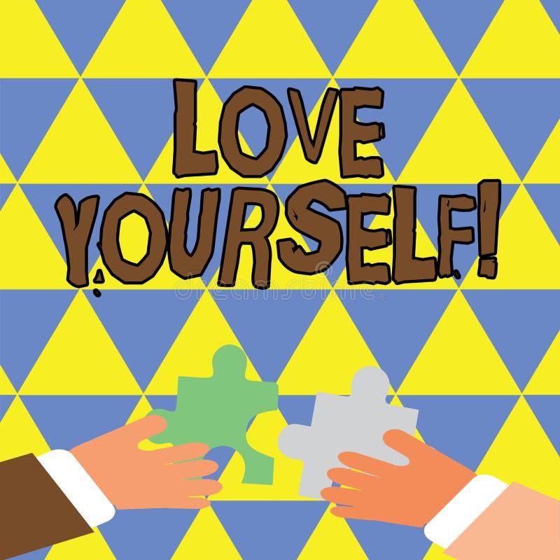 Escrevendo a nota que mostra o amor você mesmo Apresentar da foto do negócio tem a imagem positiva do respeito do auto e incondic ilustração do vetor