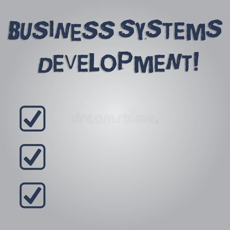 Escrevendo a nota que mostra o desenvolvimento de sistemas empresariais Processo apresentando da foto do negócio de definir e de  ilustração royalty free