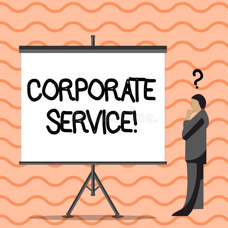 Escrevendo a nota que mostra o serviço incorporado As atividades apresentando da foto do negócio combinam serviços de assistência ilustração royalty free