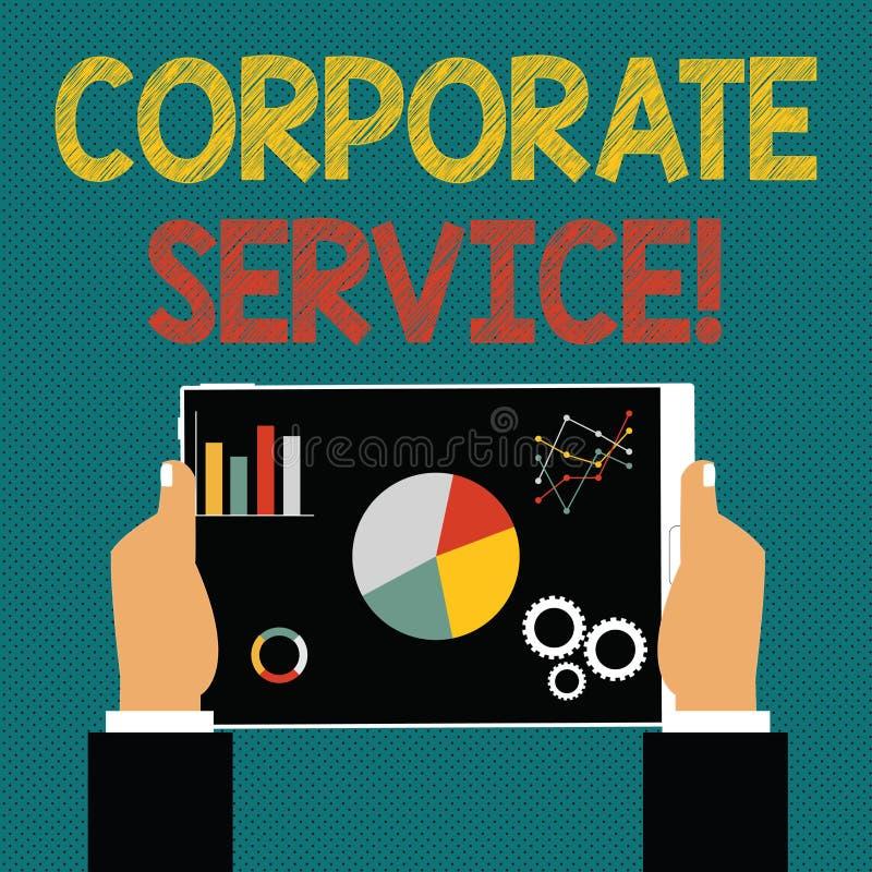 Escrevendo a nota que mostra o serviço incorporado As atividades apresentando da foto do negócio combinam serviços de assistência ilustração do vetor
