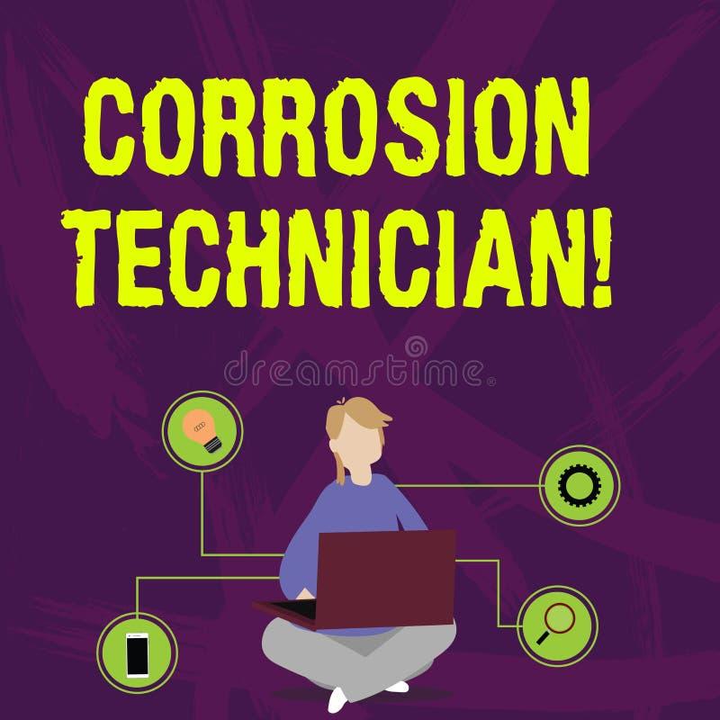 Escrevendo a nota que mostra o técnico da corrosão Da corrosão apresentando da instalação e da manutenção da foto do negó ilustração stock