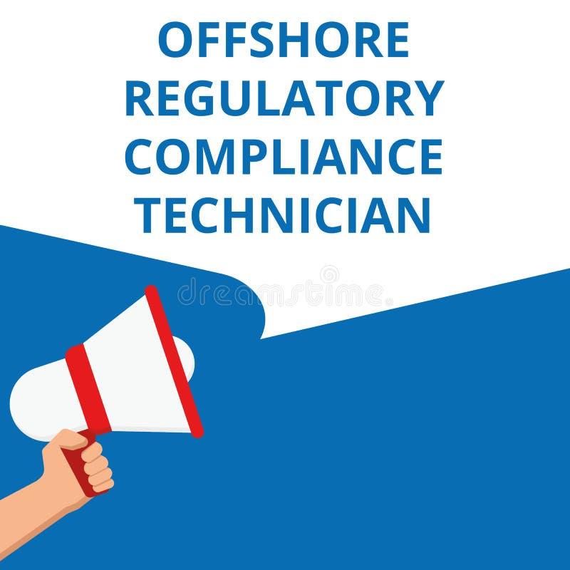 Escrevendo a nota que mostra o técnico regulador a pouca distância do mar da conformidade ilustração do vetor