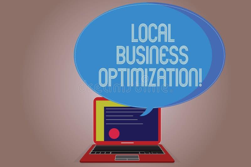 Escrevendo a nota que mostra a otimização local do negócio Foto do negócio que apresenta para promover produtos e serviço a local ilustração royalty free