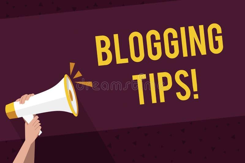 Escrevendo a nota que mostra pontas publicando em blogs Ideias da foto do negócio em como melhorar a discussão ou informativo apr ilustração do vetor