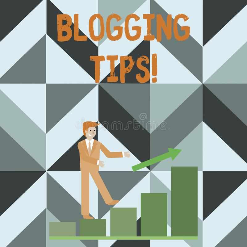 Escrevendo a nota que mostra pontas publicando em blogs Ideias da foto do neg?cio em como melhorar a discuss?o ou informativo apr ilustração stock