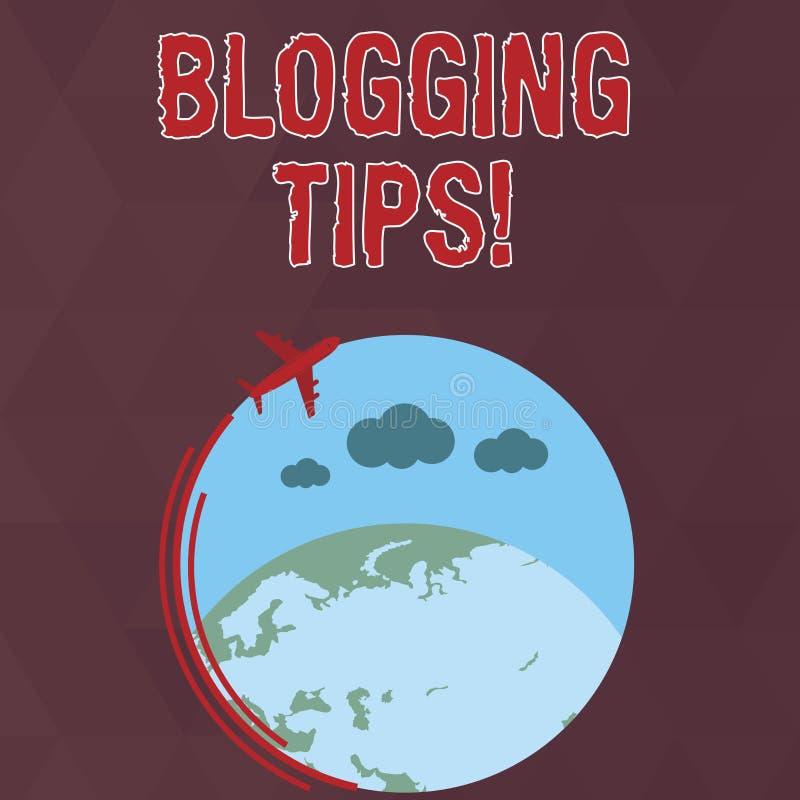 Escrevendo a nota que mostra pontas publicando em blogs Ideias da foto do neg?cio em como melhorar a discuss?o ou informativo apr ilustração do vetor