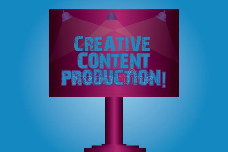 Escrevendo a nota que mostra a produção satisfeita criativa Tornar-se da foto do negócio e criar apresentando visual ou escrita ilustração stock