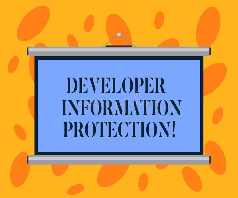 Escrevendo a nota que mostra a proteção de informação do colaborador Apresentar da foto do negócio protege a informação important ilustração royalty free