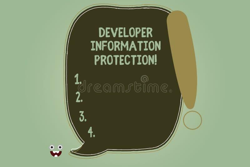 Escrevendo a nota que mostra a proteção de informação do colaborador Apresentar da foto do negócio protege a informação important ilustração do vetor