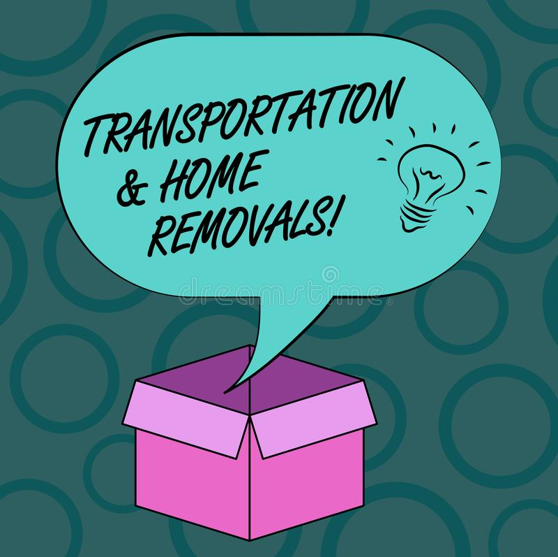 Escrevendo a nota que mostra remoções do transporte e da casa Ideia de envio móvel apresentando da casa nova dos pacotes da foto  ilustração do vetor