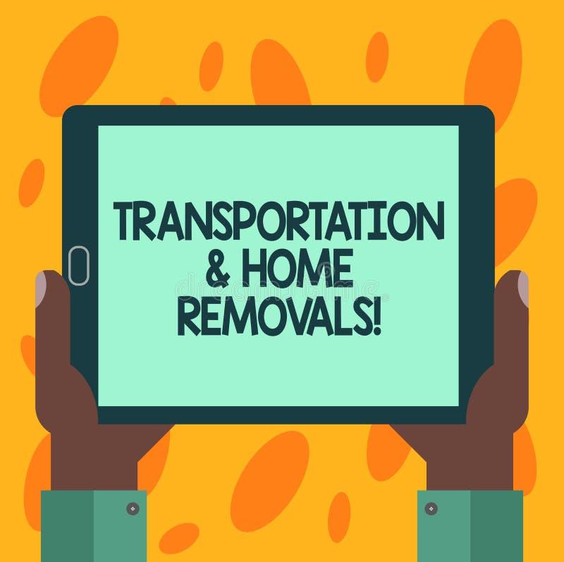 Escrevendo a nota que mostra remoções do transporte e da casa Casa nova de envio móvel apresentando Hu dos pacotes da foto do neg ilustração do vetor