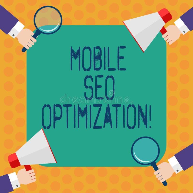 Escrevendo a nota que mostra Seo Optimization móvel Apresentar da foto do negócio permite um Web site de classificar para a análi ilustração do vetor