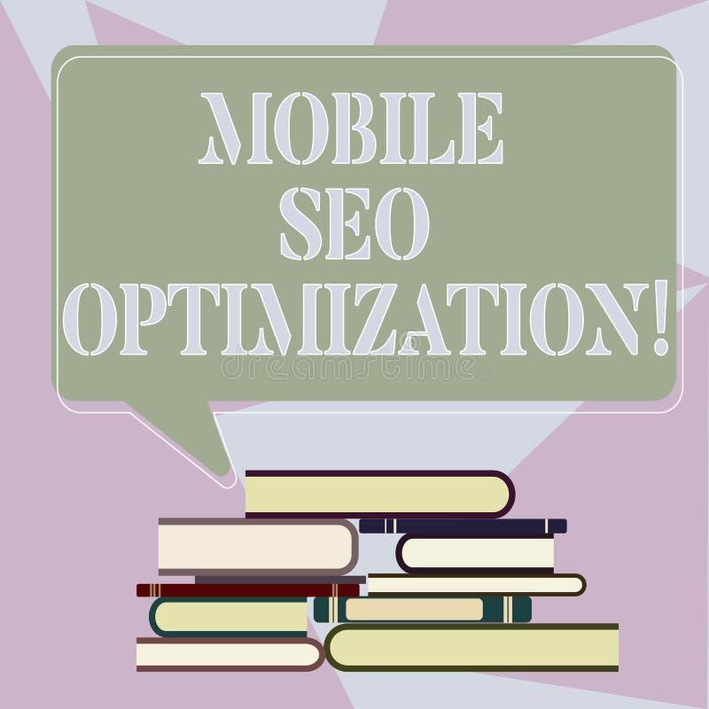Escrevendo a nota que mostra Seo Optimization móvel Apresentar da foto do negócio permite um Web site de classificar para buscas  ilustração do vetor