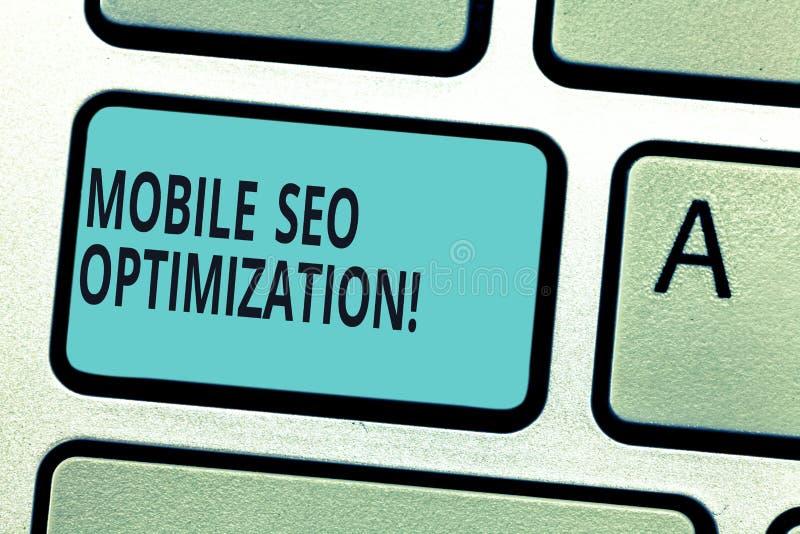Escrevendo a nota que mostra Seo Optimization móvel Apresentar da foto do negócio permite um Web site de classificar para buscas  ilustração stock