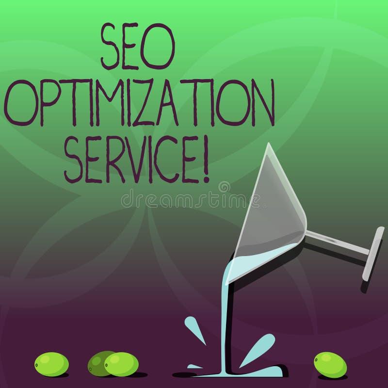 Escrevendo a nota que mostra Seo Optimization Service Alvo apresentando da foto do negócio para aumentar a visibilidade de um Web ilustração do vetor
