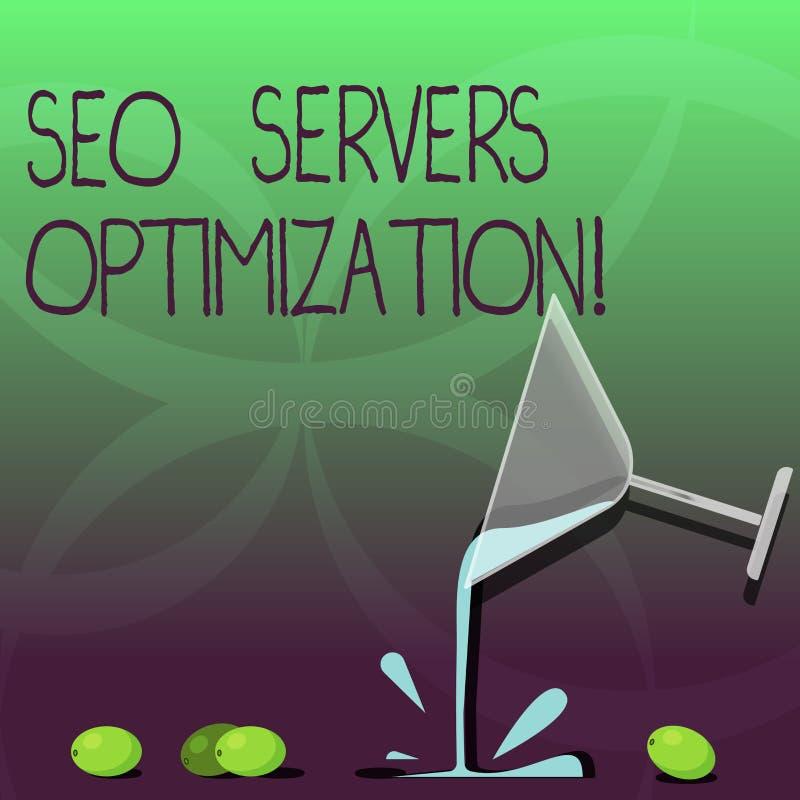 Escrevendo a nota que mostra Seo Servers Optimization Foto do negócio que apresenta a eficiência do funcionamento da rede de SEO  ilustração stock