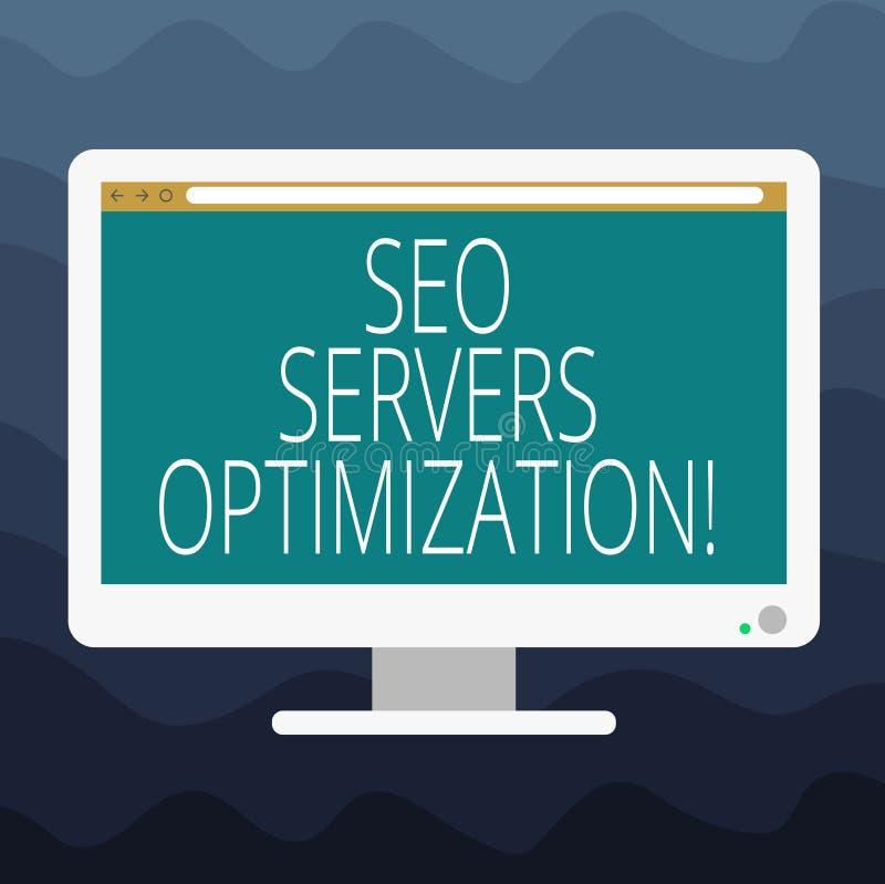 Escrevendo a nota que mostra Seo Servers Optimization Foto do negócio que apresenta a placa da eficiência do funcionamento da red ilustração do vetor